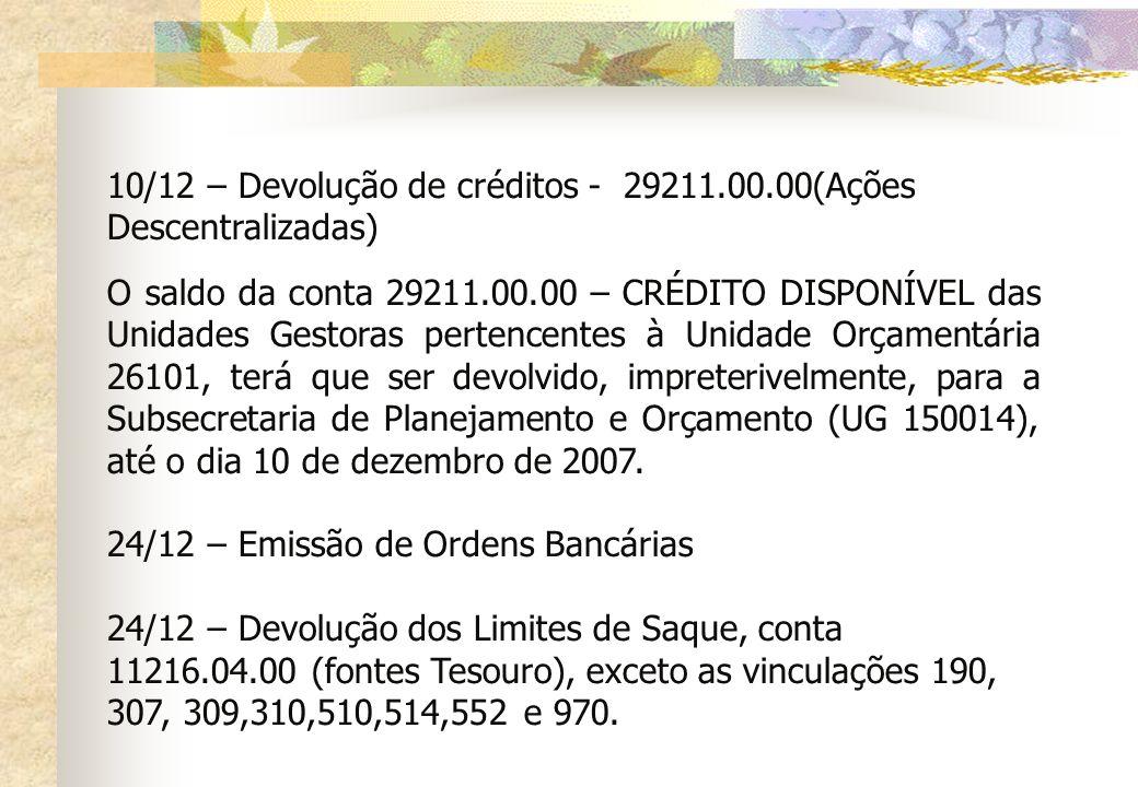 10/12 – Devolução de créditos - 29211.00.00(Ações Descentralizadas)