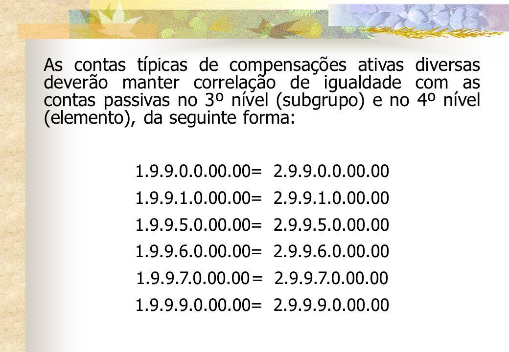 As contas típicas de compensações ativas diversas deverão manter correlação de igualdade com as contas passivas no 3º nível (subgrupo) e no 4º nível (elemento), da seguinte forma: