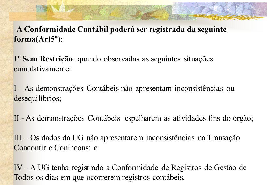 A Conformidade Contábil poderá ser registrada da seguinte forma(Art5º):