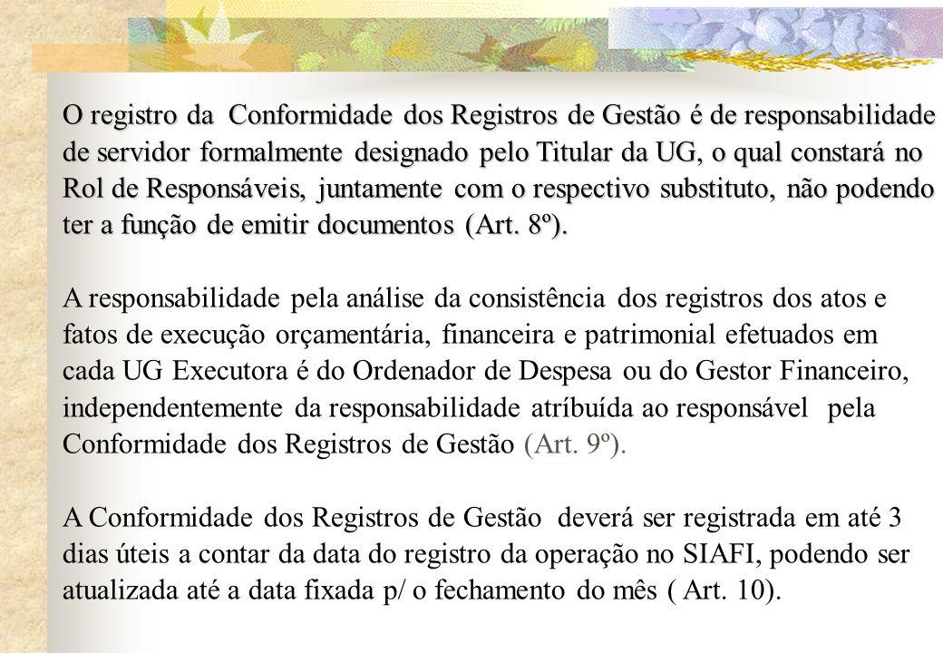 O registro da Conformidade dos Registros de Gestão é de responsabilidade