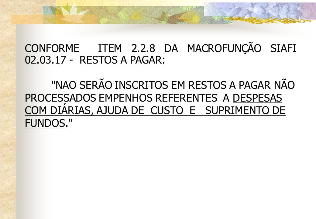 CONFORME ITEM 2.2.8 DA MACROFUNÇÃO SIAFI 02.03.17 - RESTOS A PAGAR: