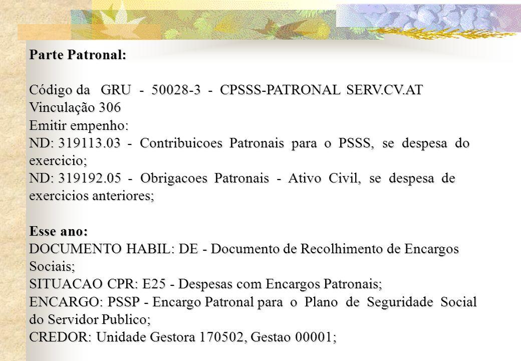 Parte Patronal: Código da GRU - 50028-3 - CPSSS-PATRONAL SERV.CV.AT. Vinculação 306. Emitir empenho: