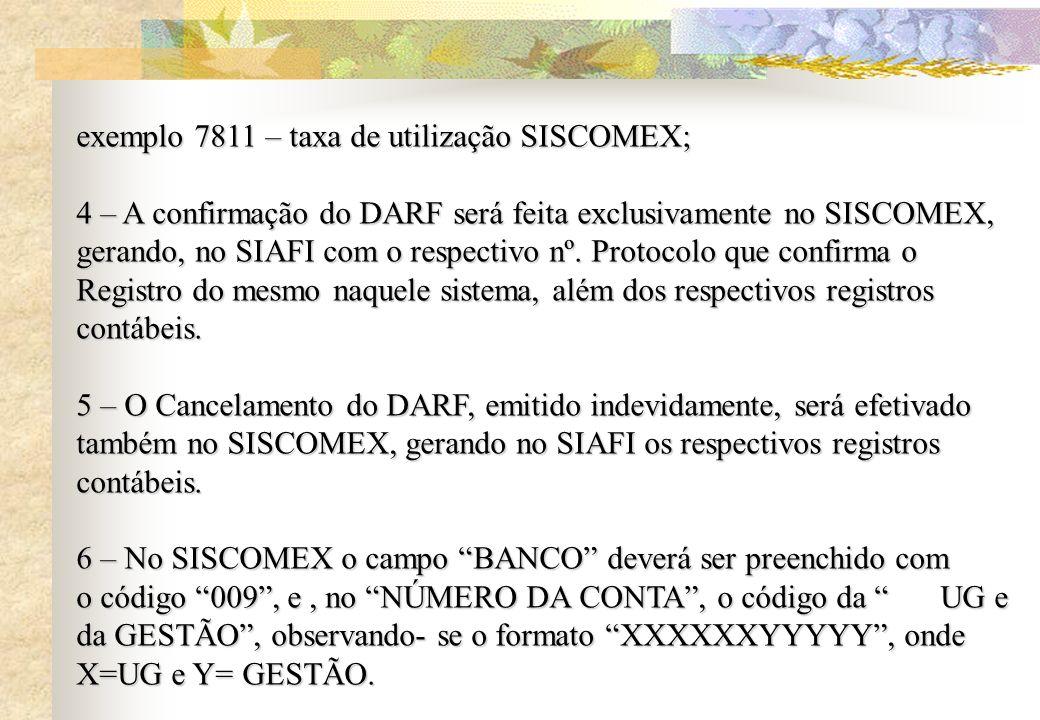 exemplo 7811 – taxa de utilização SISCOMEX;