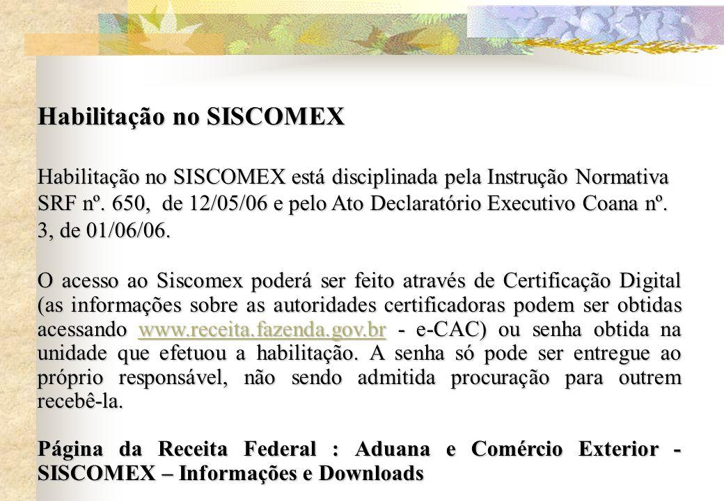Habilitação no SISCOMEX