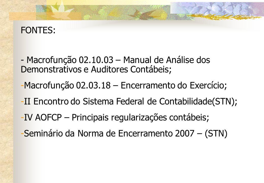 FONTES: - Macrofunção 02.10.03 – Manual de Análise dos Demonstrativos e Auditores Contábeis; Macrofunção 02.03.18 – Encerramento do Exercício;