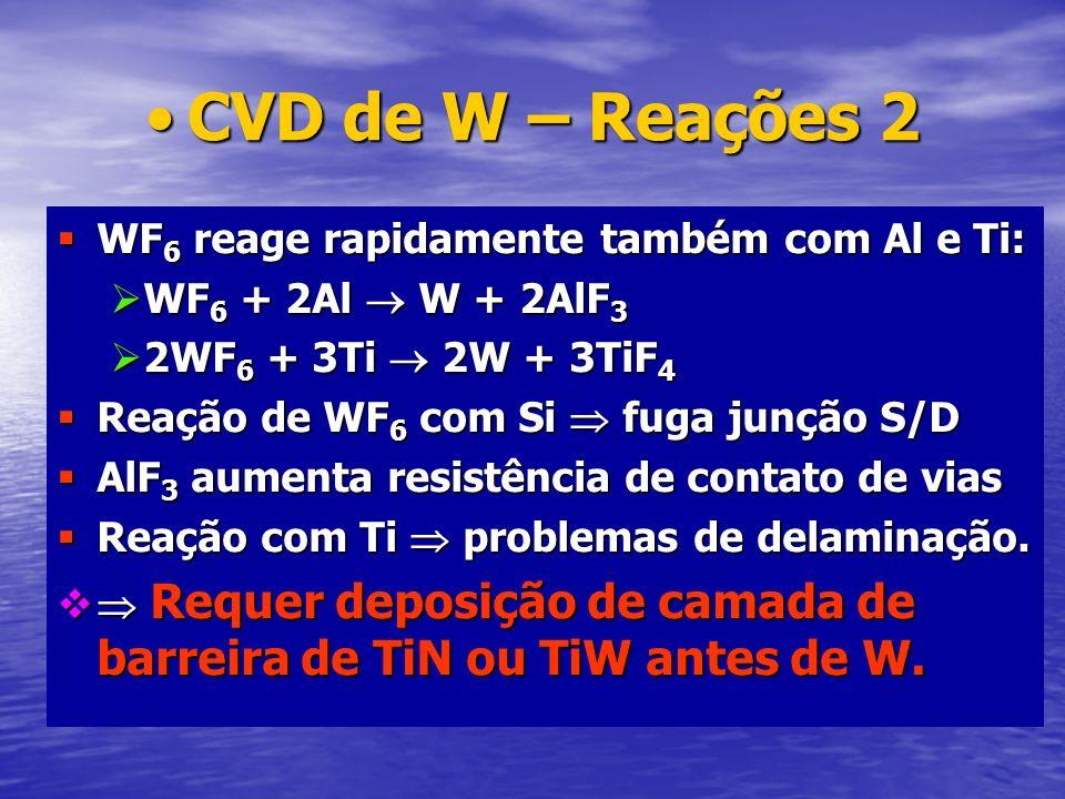 CVD de W – Reações 2 WF6 reage rapidamente também com Al e Ti: