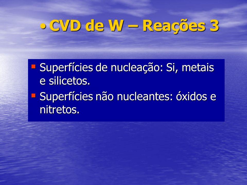 CVD de W – Reações 3 Superfícies de nucleação: Si, metais e silicetos.