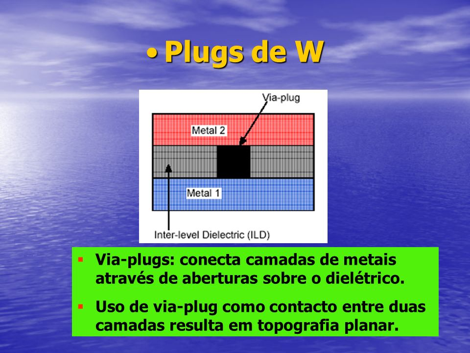Plugs de W Via-plugs: conecta camadas de metais através de aberturas sobre o dielétrico.