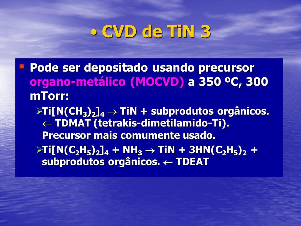 CVD de TiN 3Pode ser depositado usando precursor organo-metálico (MOCVD) a 350 ºC, 300 mTorr: