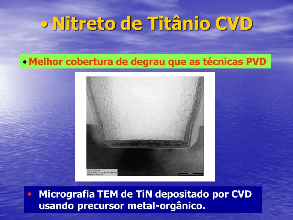 Nitreto de Titânio CVD Melhor cobertura de degrau que as técnicas PVD