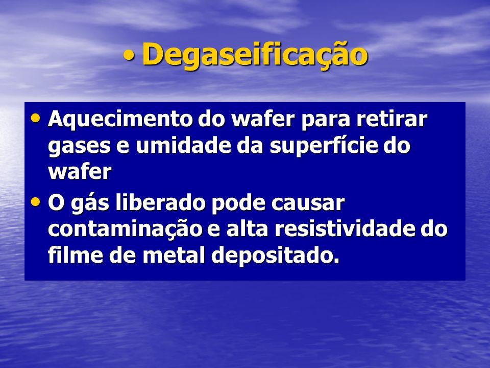 DegaseificaçãoAquecimento do wafer para retirar gases e umidade da superfície do wafer.