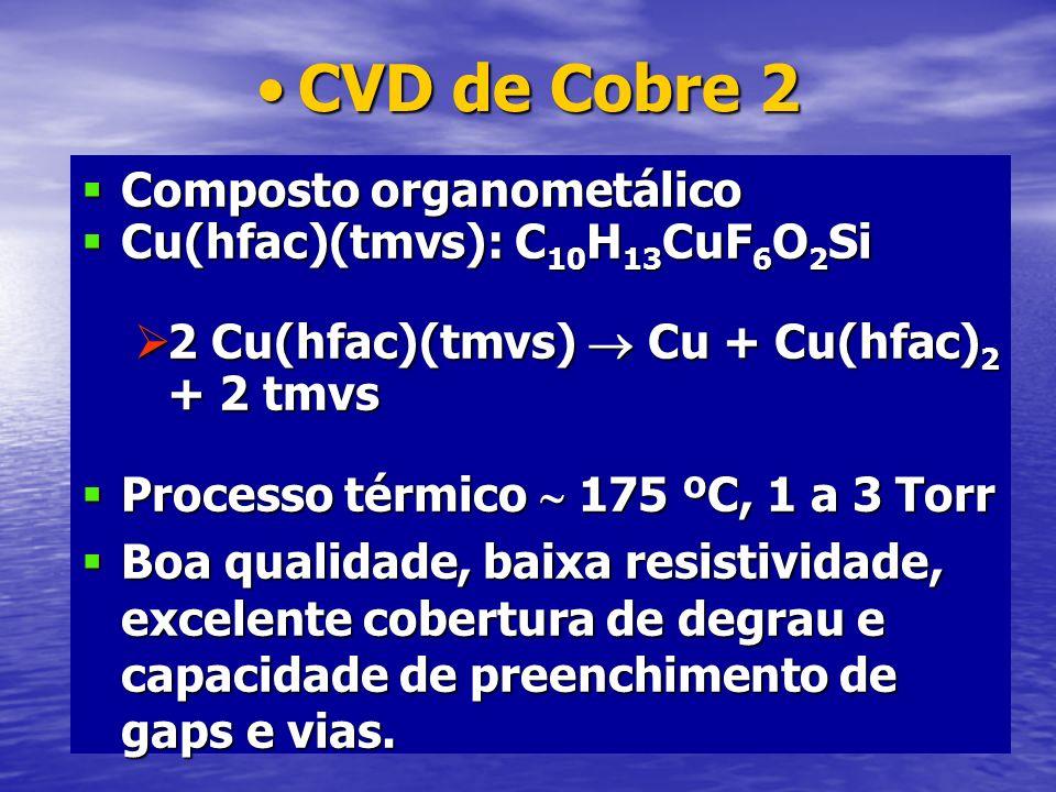 CVD de Cobre 2 Composto organometálico Cu(hfac)(tmvs): C10H13CuF6O2Si