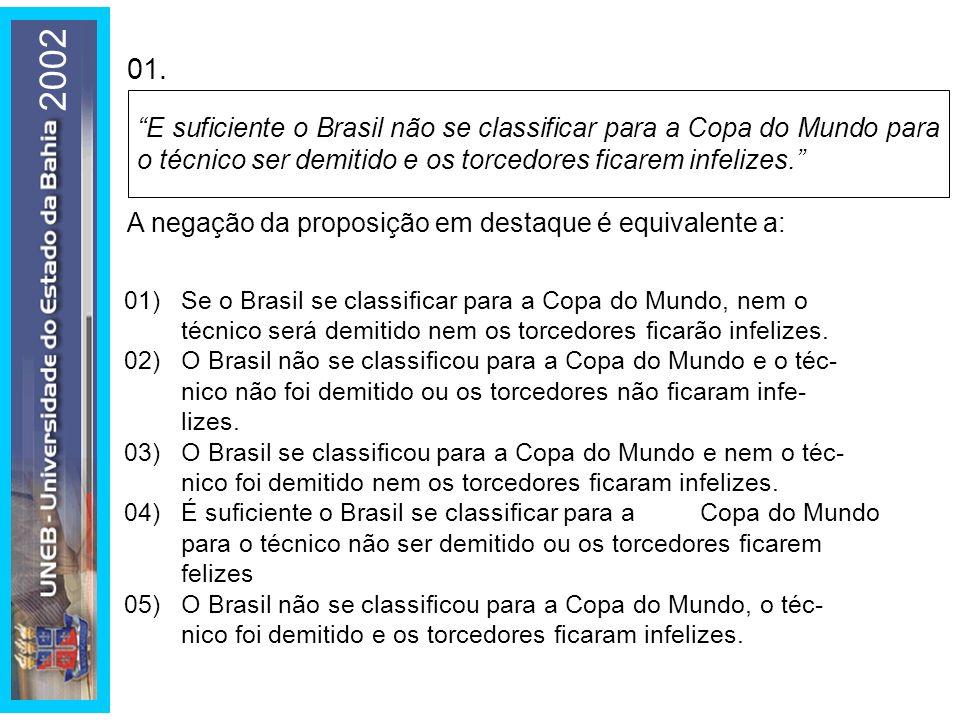 2002 01. E suficiente o Brasil não se classificar para a Copa do Mundo para o técnico ser demitido e os torcedores ficarem infelizes.