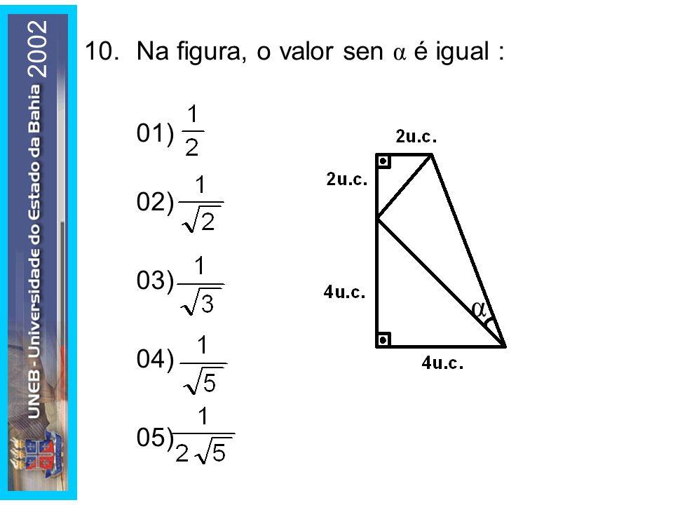 2002 10. Na figura, o valor sen α é igual : 01) 02) 03) 04) 05) α