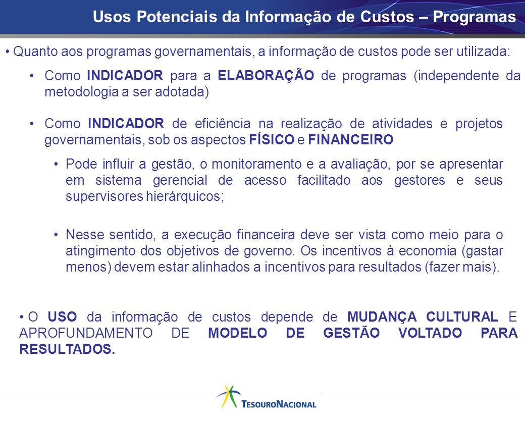 Usos Potenciais da Informação de Custos – Programas