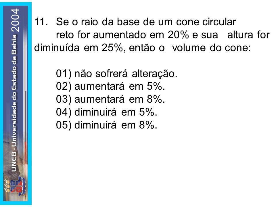 200411. Se o raio da base de um cone circular reto for aumentado em 20% e sua altura for diminuída em 25%, então o volume do cone: