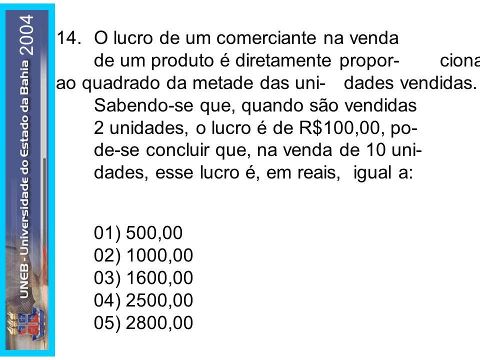 2004 14. O lucro de um comerciante na venda de um produto é diretamente propor- cional ao quadrado da metade das uni- dades vendidas.