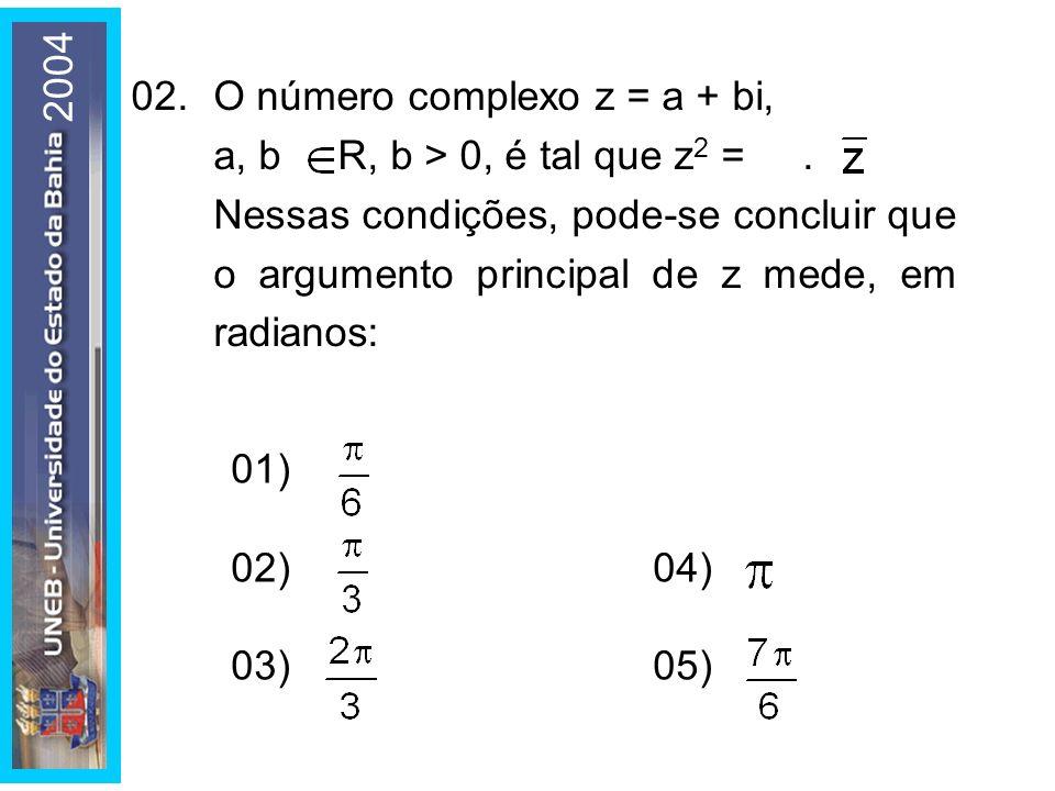2004 02. O número complexo z = a + bi, a, b  R, b > 0, é tal que z2 = .