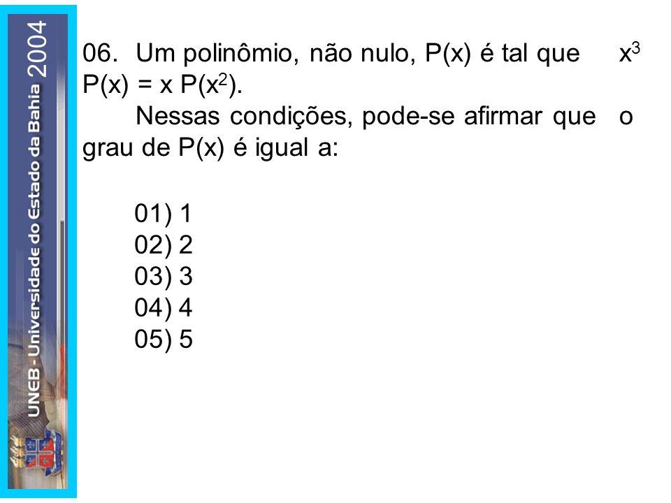 200406. Um polinômio, não nulo, P(x) é tal que x3 P(x) = x P(x2). Nessas condições, pode-se afirmar que o grau de P(x) é igual a: