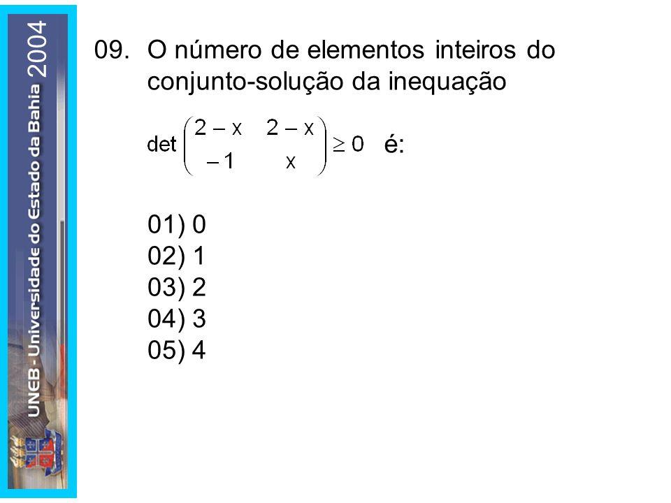 2004 01) 0. 02) 1. 03) 2. 04) 3. 05) 4. 09. O número de elementos inteiros do conjunto-solução da inequação.