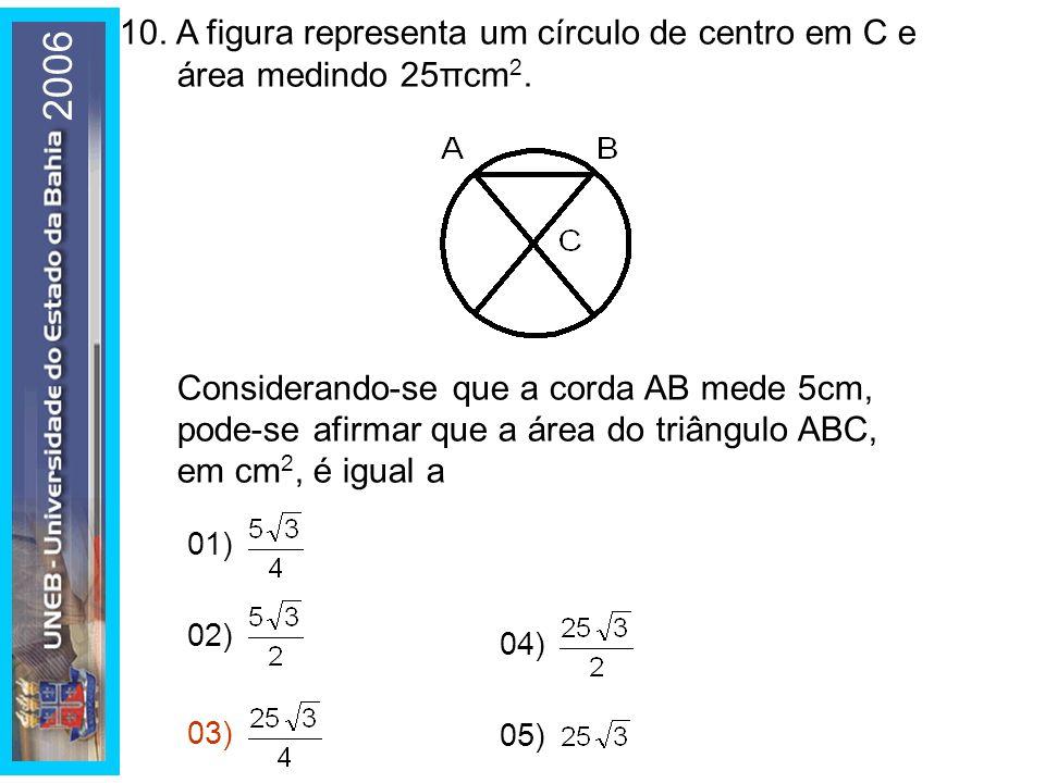 10. A figura representa um círculo de centro em C e área medindo 25πcm2.