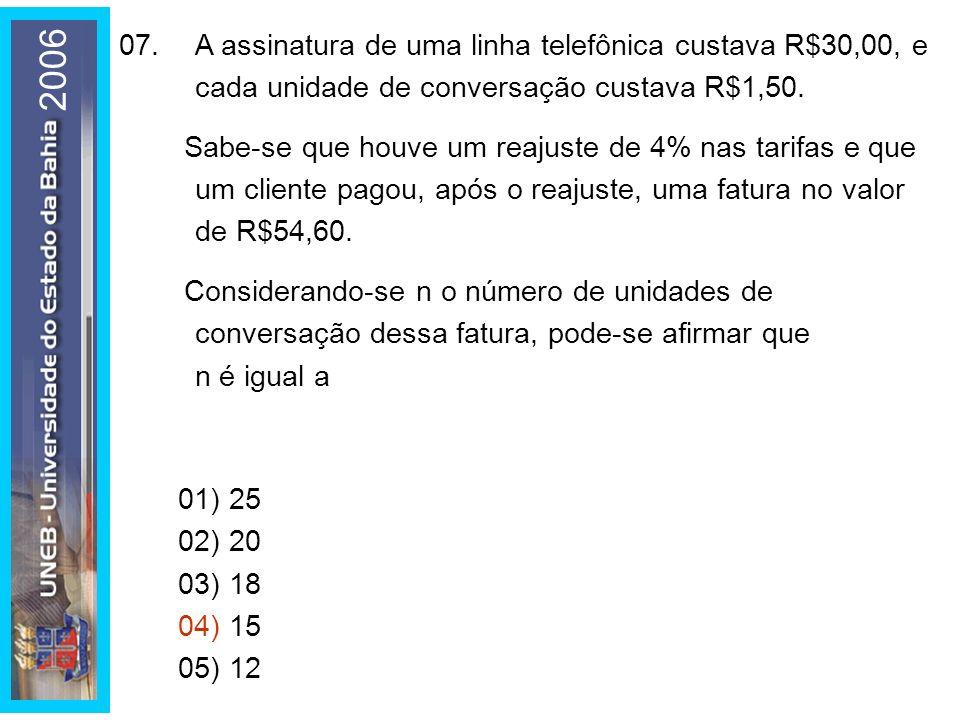 01) 25 02) 20. 03) 18. 04) 15. 05) 12. 07. A assinatura de uma linha telefônica custava R$30,00, e cada unidade de conversação custava R$1,50.