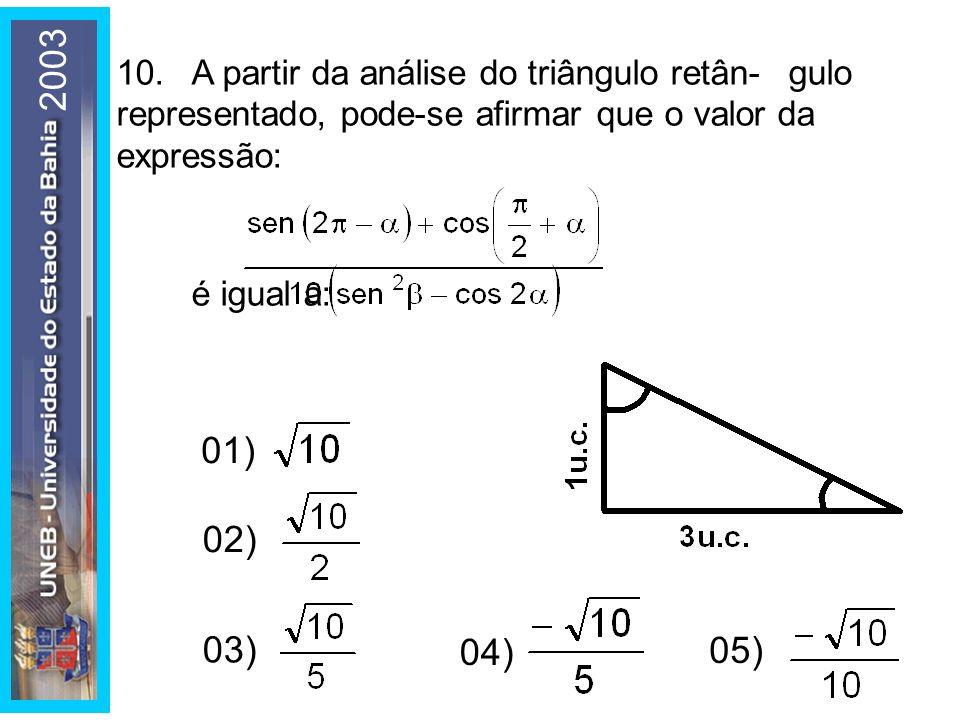 2003 10. A partir da análise do triângulo retân- gulo representado, pode-se afirmar que o valor da expressão: