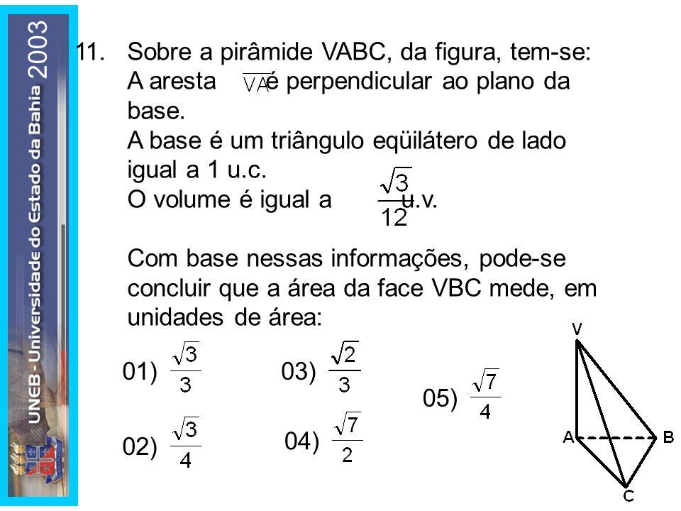 2003 11. Sobre a pirâmide VABC, da figura, tem-se: