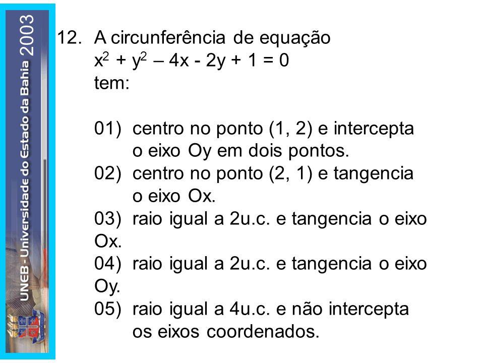 2003 12. A circunferência de equação. x2 + y2 – 4x - 2y + 1 = 0. tem: 01) centro no ponto (1, 2) e intercepta o eixo Oy em dois pontos.