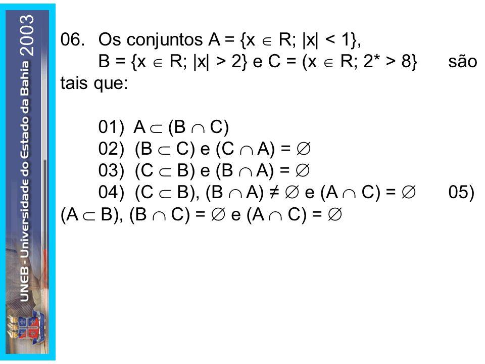 2003 06. Os conjuntos A = {x  R; |x| < 1}, B = {x  R; |x| > 2} e C = (x  R; 2* > 8} são tais que: