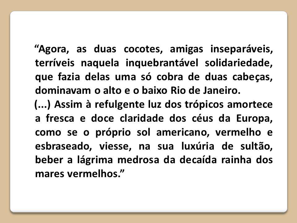 Agora, as duas cocotes, amigas inseparáveis, terríveis naquela inquebrantável solidariedade, que fazia delas uma só cobra de duas cabeças, dominavam o alto e o baixo Rio de Janeiro.
