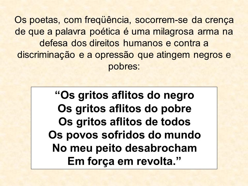 Os gritos aflitos do negro Os gritos aflitos do pobre