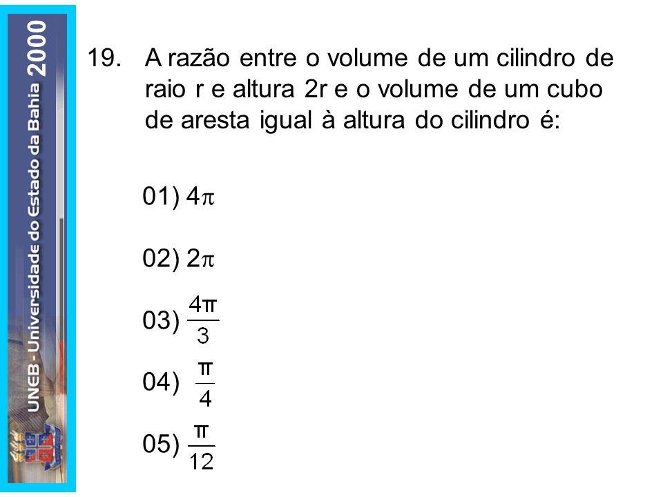 2000 19. A razão entre o volume de um cilindro de raio r e altura 2r e o volume de um cubo de aresta igual à altura do cilindro é: