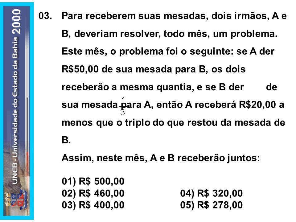 01) R$ 500,00 02) R$ 460,00 04) R$ 320,00. 03) R$ 400,00 05) R$ 278,00.