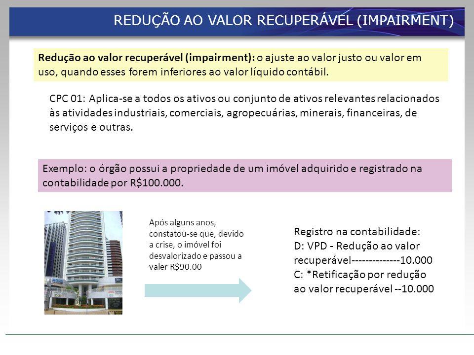 REDUÇÃO AO VALOR RECUPERÁVEL (IMPAIRMENT)
