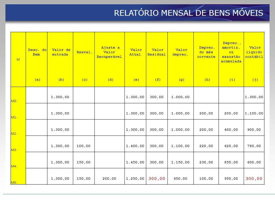 RELATÓRIO MENSAL DE BENS MÓVEIS