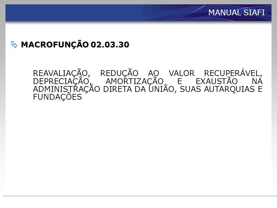 MANUAL SIAFI MACROFUNÇÃO 02.03.30.