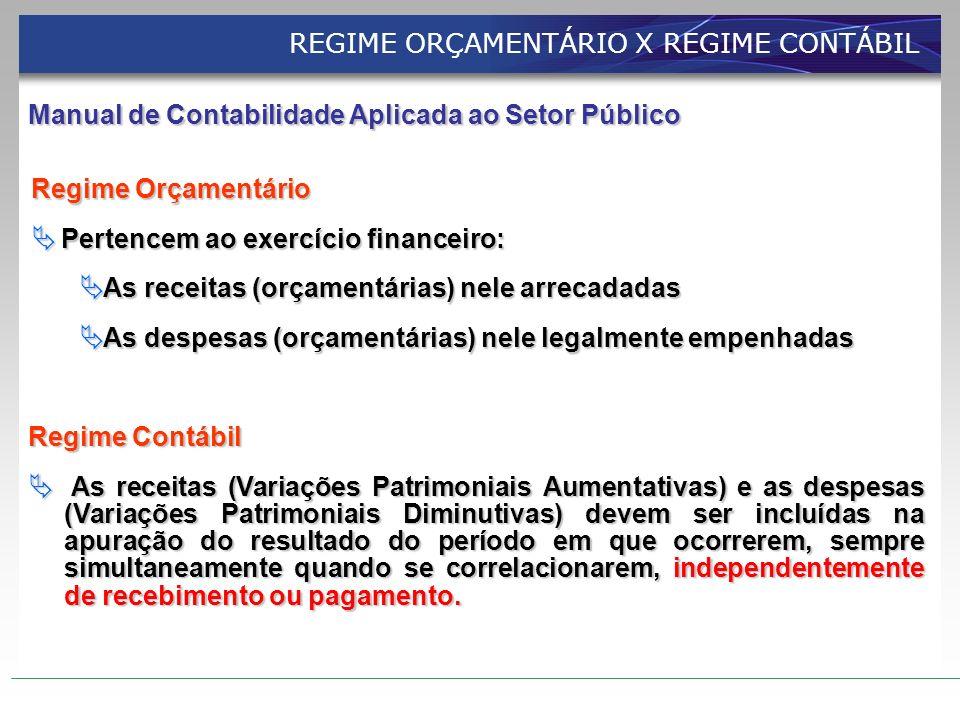 REGIME ORÇAMENTÁRIO X REGIME CONTÁBIL