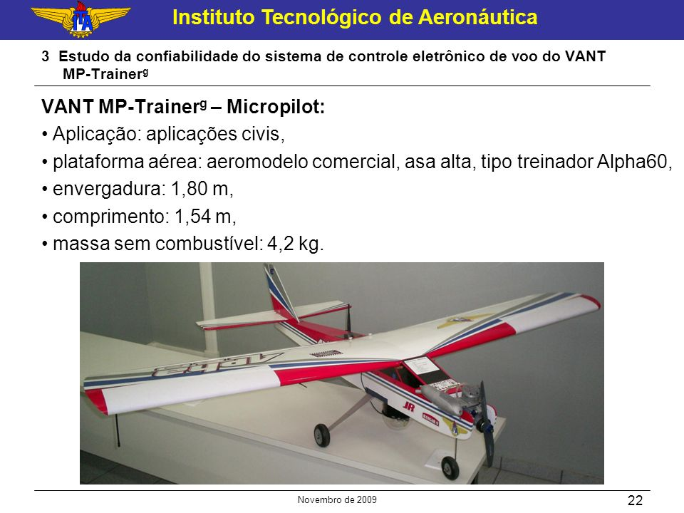 VANT MP-Trainerg – Micropilot: Aplicação: aplicações civis,