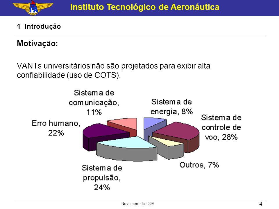 1 Introdução Motivação: VANTs universitários não são projetados para exibir alta confiabilidade (uso de COTS).