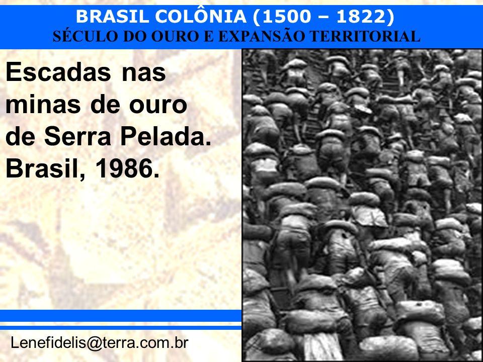 Escadas nas minas de ouro de Serra Pelada. Brasil, 1986.