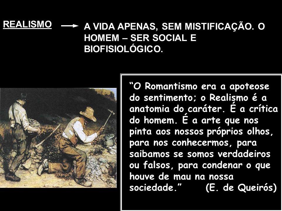 REALISMO A VIDA APENAS, SEM MISTIFICAÇÃO. O HOMEM – SER SOCIAL E BIOFISIOLÓGICO.