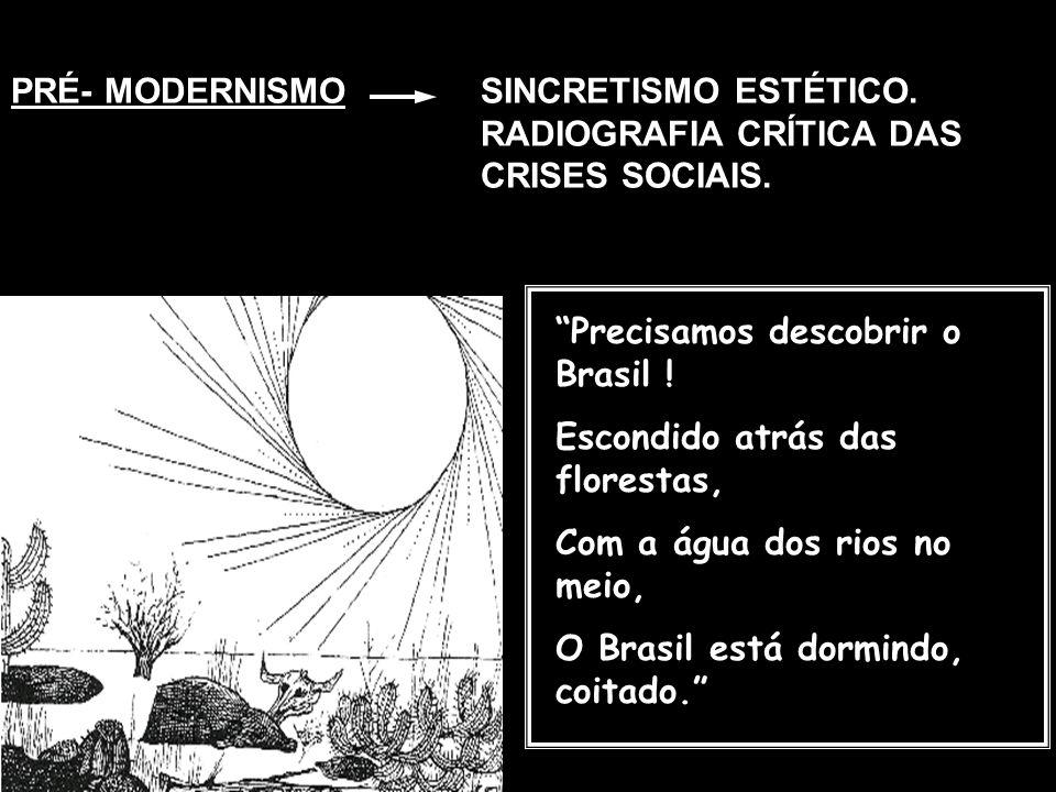 PRÉ- MODERNISMO SINCRETISMO ESTÉTICO. RADIOGRAFIA CRÍTICA DAS CRISES SOCIAIS. Precisamos descobrir o Brasil !