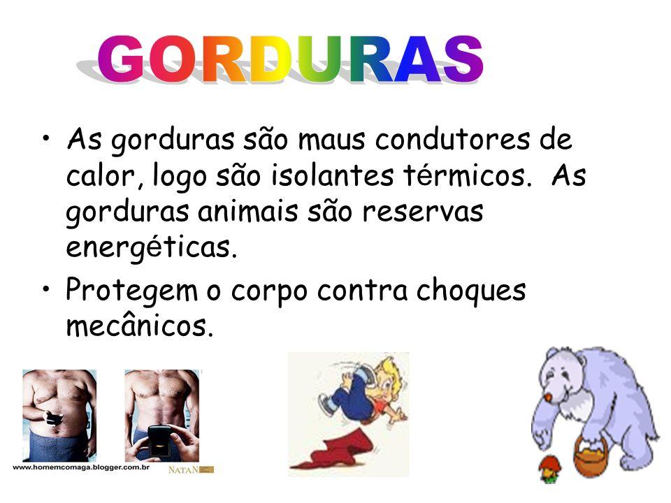GORDURAS As gorduras são maus condutores de calor, logo são isolantes térmicos. As gorduras animais são reservas energéticas.