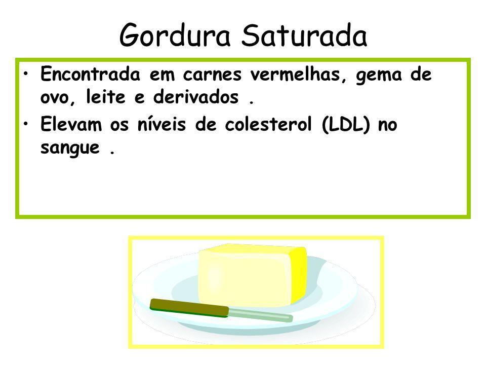Gordura Saturada Encontrada em carnes vermelhas, gema de ovo, leite e derivados .