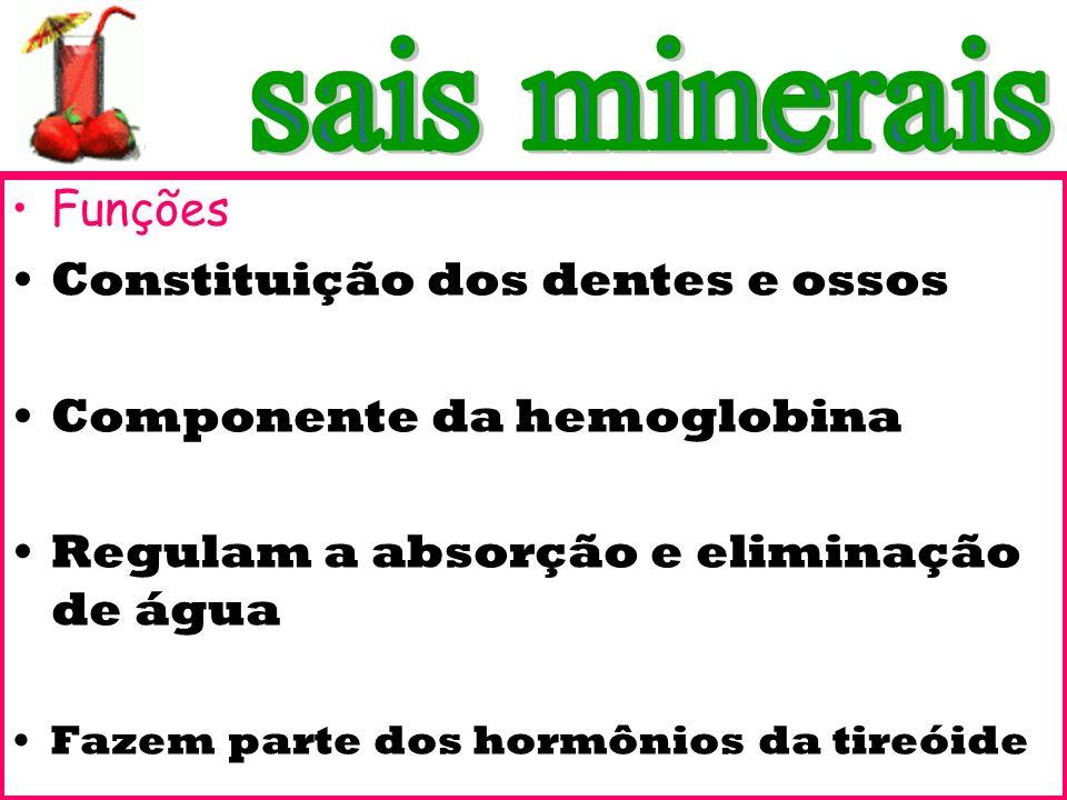 sais minerais Funções Constituição dos dentes e ossos