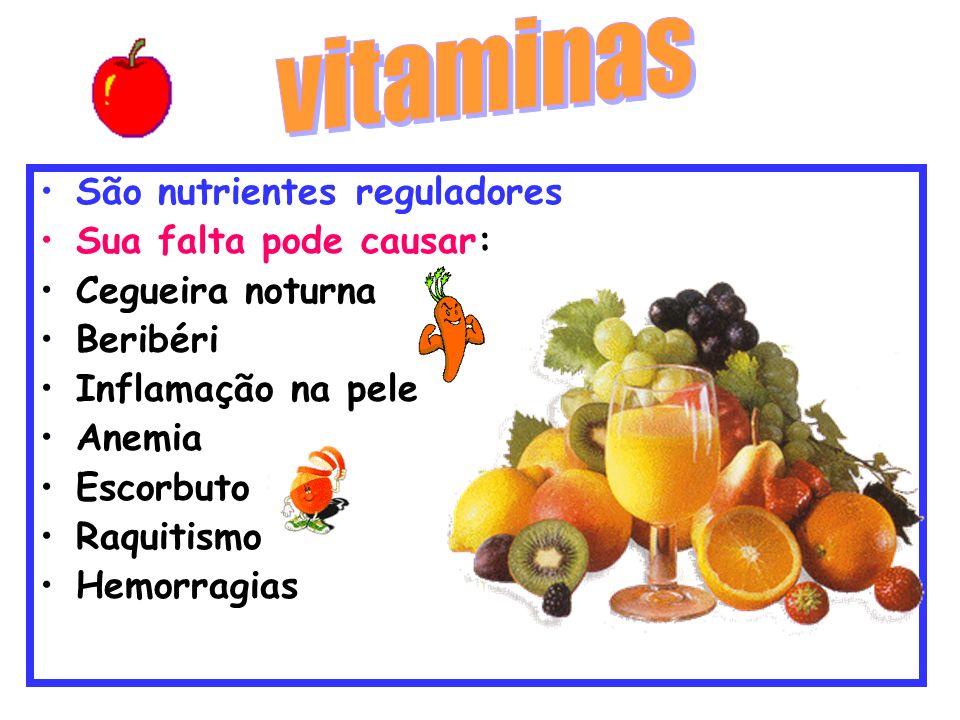 vitaminas São nutrientes reguladores Sua falta pode causar: