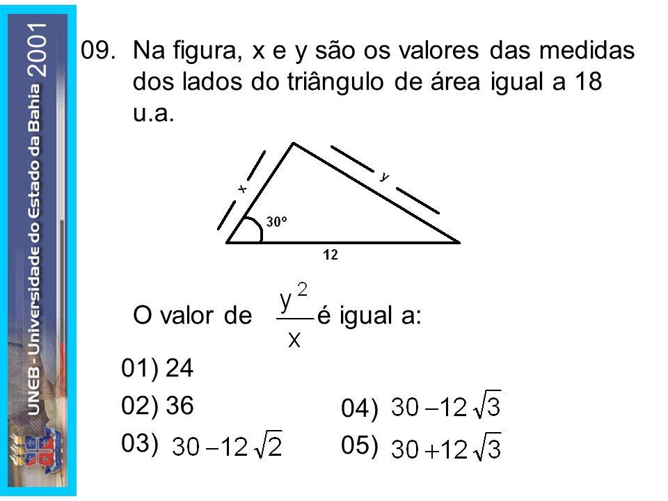 2001 09. Na figura, x e y são os valores das medidas dos lados do triângulo de área igual a 18 u.a.