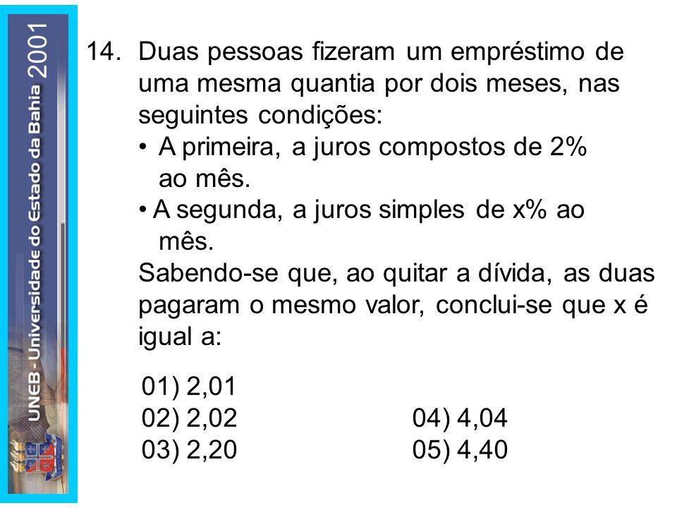2001 14. Duas pessoas fizeram um empréstimo de uma mesma quantia por dois meses, nas seguintes condições: