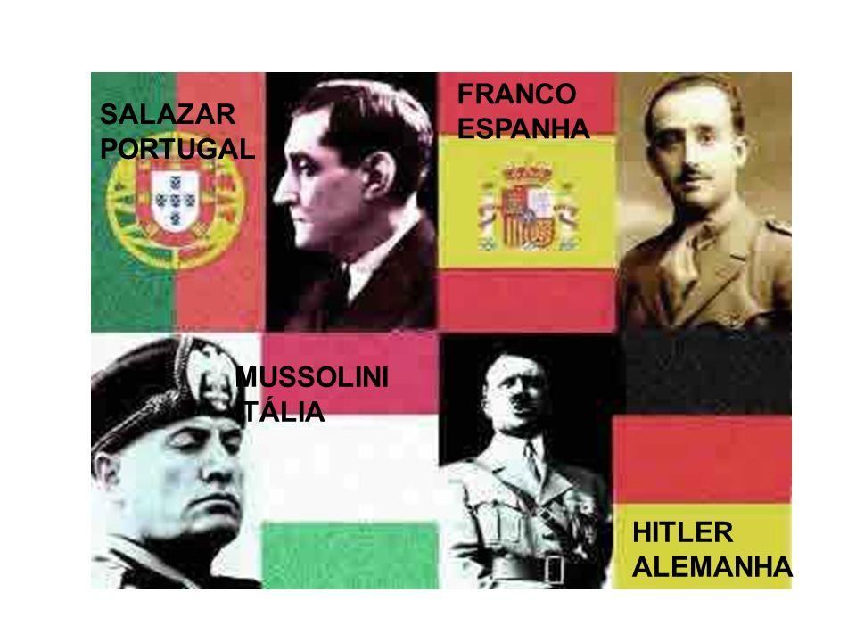 FRANCO ESPANHA SALAZAR PORTUGAL MUSSOLINI ITÁLIA HITLER ALEMANHA